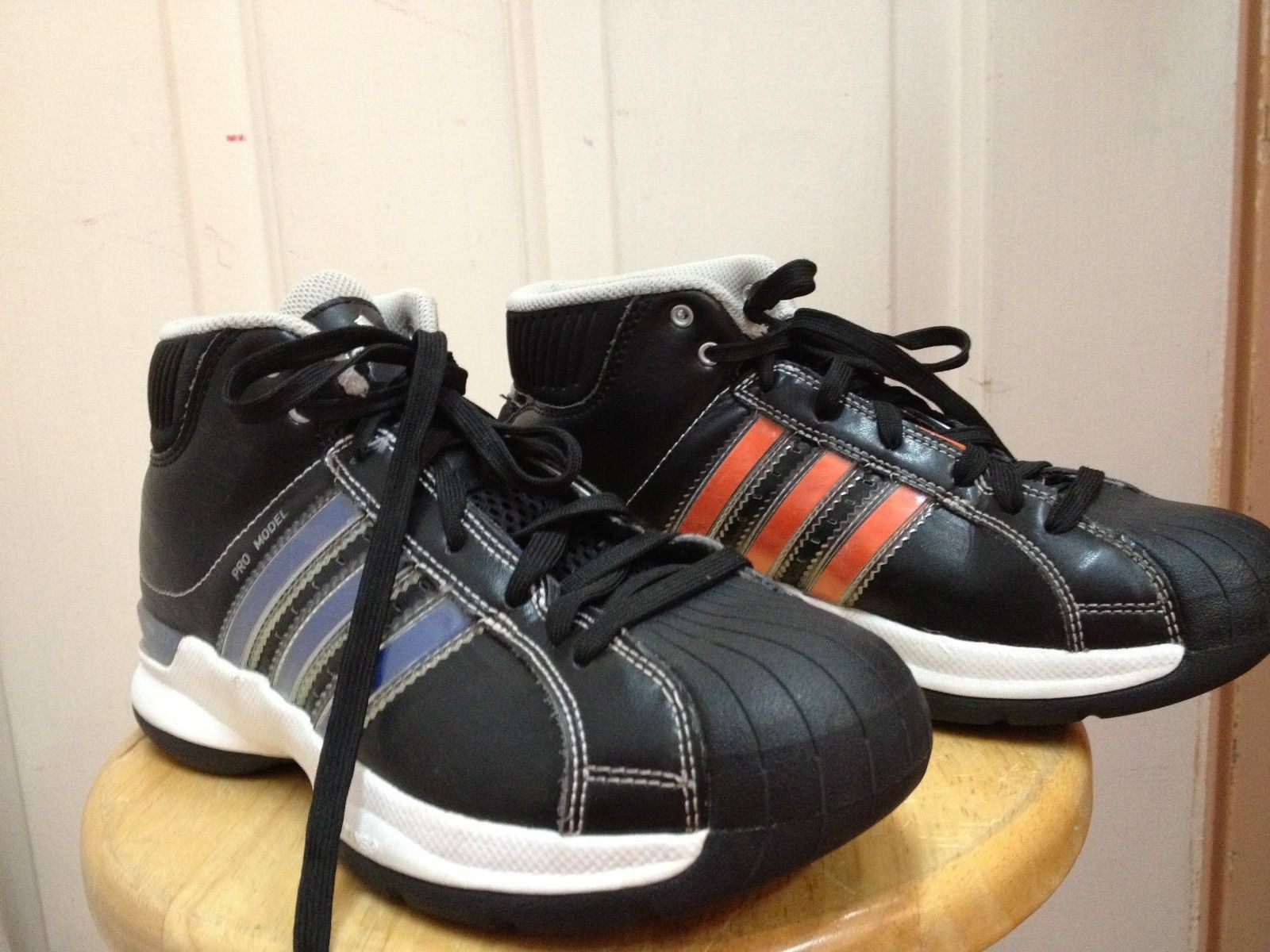 b0d0f819a8e ADIDAS PRO MODEL shoes CHANGE STRIPES sneakers BLACK High Tops 5.5 GOLF  BACKPACK