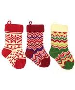 Christmas Stocking Christmas Decoration Knit Stocking Zigzag Starflake w... - $19.99