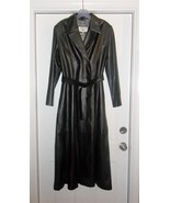 Crombie Black 100% Leather Long Trench Coat Siz... - $399.99
