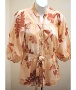 Lux Urban Outfitters S Top Peach Bird Leaf Dolman 3/4 Slv Boho Smocked T... - $17.62