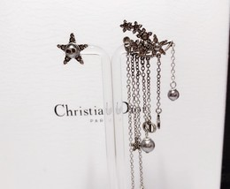 AUTHENTIC Christian Dior STAR CD LOGO CHARM Multi Chain Long Dangle Earrings image 4
