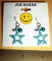 Joe Boxer Girl Fashion Blue Sparkle Star Dangle Earring Jewelry Accessory Pair - $5.69