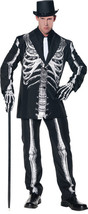 BONE DADDY SKELETON ADULT MENS COSTUME Classy Black Suit Theme Party Hal... - ₹3,119.85 INR+