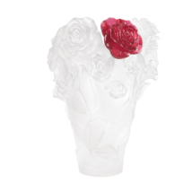 DAUM Crystal White vase & red flower Rose Passion 05308 France - $7,276.50