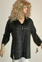 NWT JM Collection $65 Black Lurex Glitter Embellished Rhinestone Long Sweater XL - $32.00