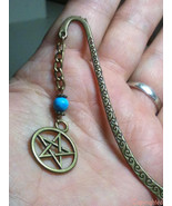 Antique Bronze Tone Mini Bookmark Dangling Chain Turquoise Color Bead & ... - $7.99