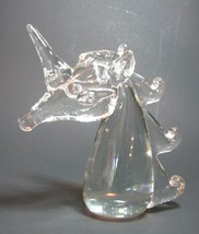 Unicorn Head Blown Art Glass Figurine Paperweight Clear - $38.69