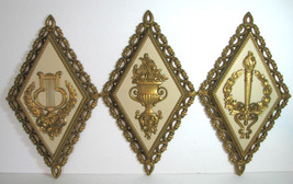 Vintage Homco Greek Wall Art Set 3 MCM Gold Hollywood Regency - $24.18