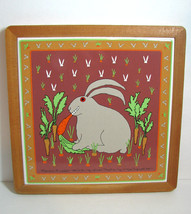 Taylor Ng Bunny Rabbit Tile Trivet Vintage Japan Carrot Whimsical - $21.28