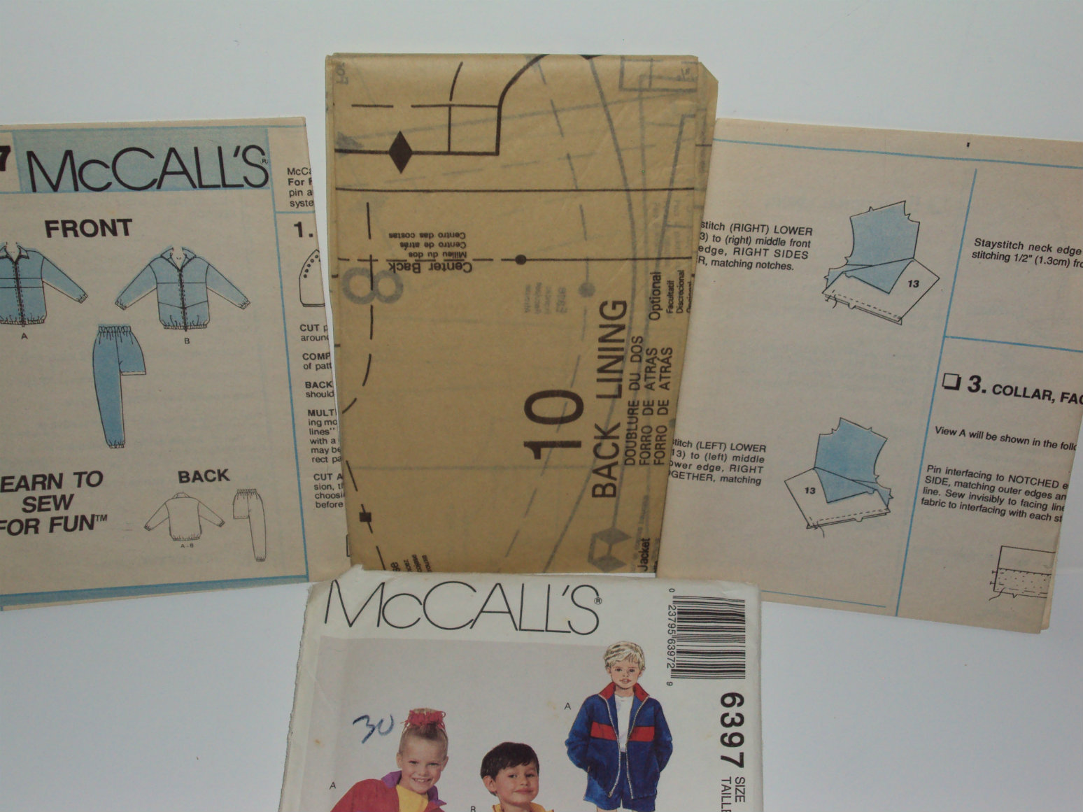 McCall Sewing Pattern 6397 Children Lined or Unlined Jacket Pants Shorts Size 3