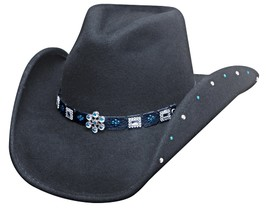 Bullhide Killin Time Wool Cowgirl Hat Pinchfront Crown Floral Conchos Black - $58.00