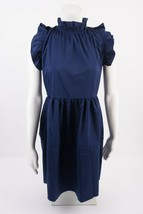Womens High Neck Ruffle Dress A-Line Fit Flare L  Navy Blue Sleeveless C... - $19.79
