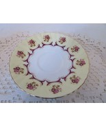 ROYAL DOVER CHINA TEASAUCER MADE IN ENGLAND YELLOW BORDER RED ACCENT GOL... - $1.93
