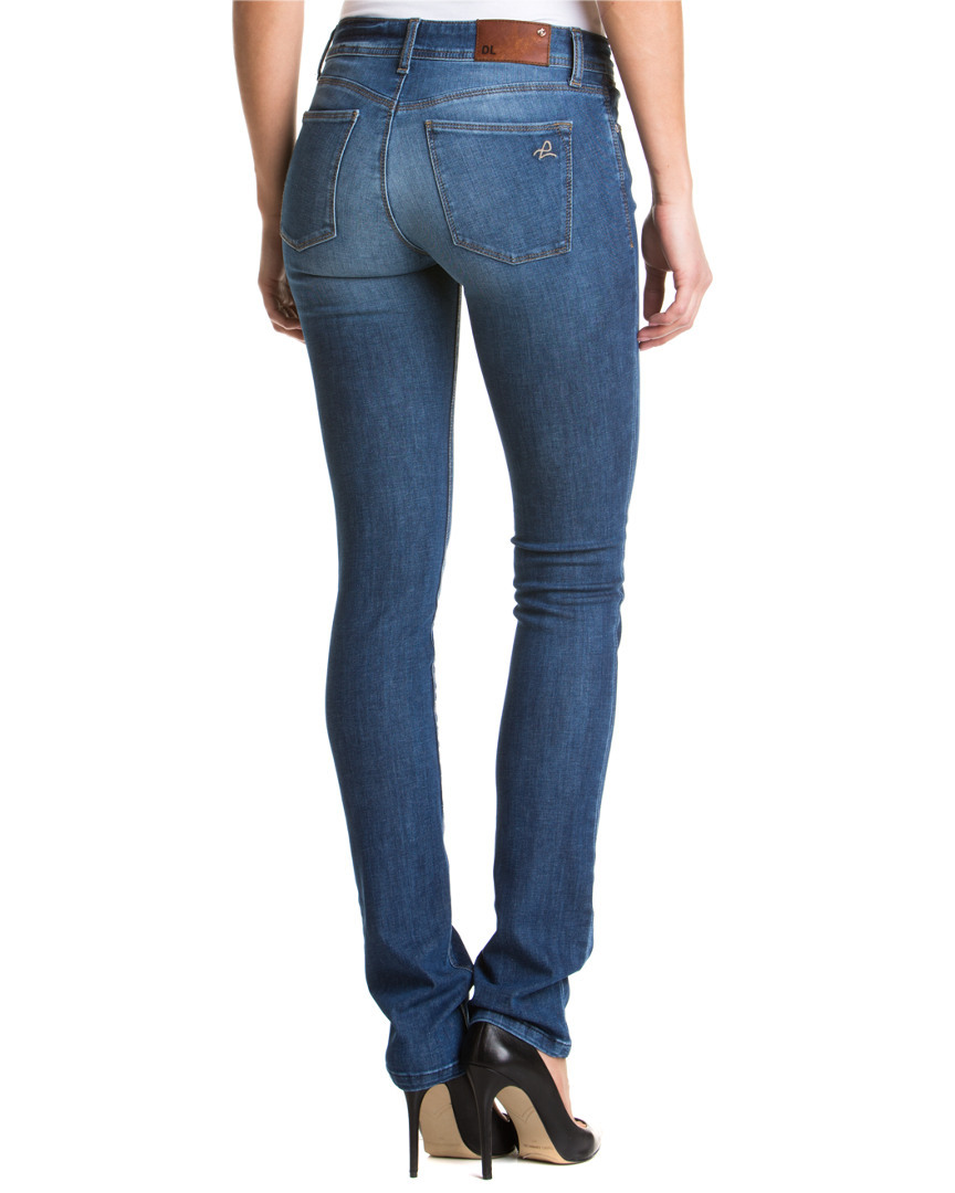 Try a pair of straight leg jeans in a deep, dark wash for casual Fridays at the office. This classic look pairs just as well with a button-front men's shirt in the warmer months or a wool pea coat in the winter. Skinny jeans often feature comfortable denim blends that stretch slightly for better freedom of movement.
