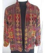 Coldwater Creek Tapestry Like Jacket Size S Autumn Colors w fleur de lis design - $29.95