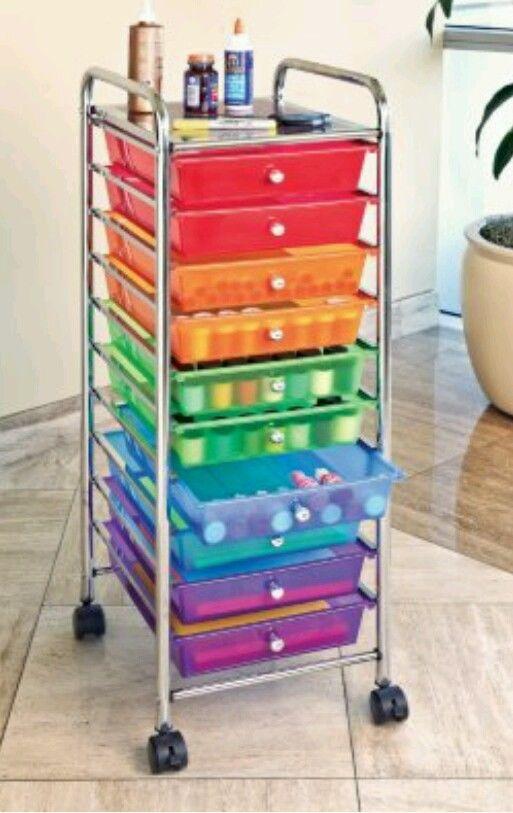 Storage cart art drawer craft rolling paper organizer for Rolling craft storage cart