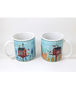 Set of 2 Sakura Coffee Mugs Cups Warren Kimble 'Birdhouse'  Dated 2000  - $16.00