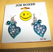 Joe Boxer Girl Fashion Blue Sparkle Heart Dangle Earring Jewelry Accessory Pair - $5.69