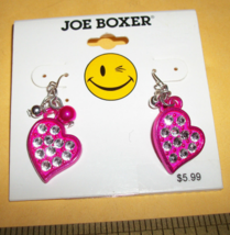 Joe Boxer Girl Fashion Pink Sparkle Heart Dangle Earring Jewelry Accessory Pair - $5.69