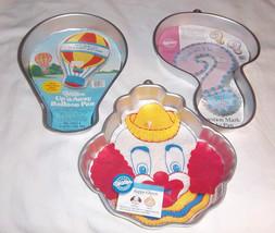Lot 3 Vtg 80s Wilton Cake Pans Inserts Question Mark, Balloon Cone, Clown Nurse - $25.96
