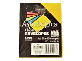 Wausau Astrobrights-Fluorescent Envelopes-Multi-5 color Pack- A2 Size-50 Count