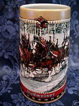 Vintage BUDWEISER BEER MUG STEIN 1988 Souvenir Collectror CLYDESDALES HO... - $24.95