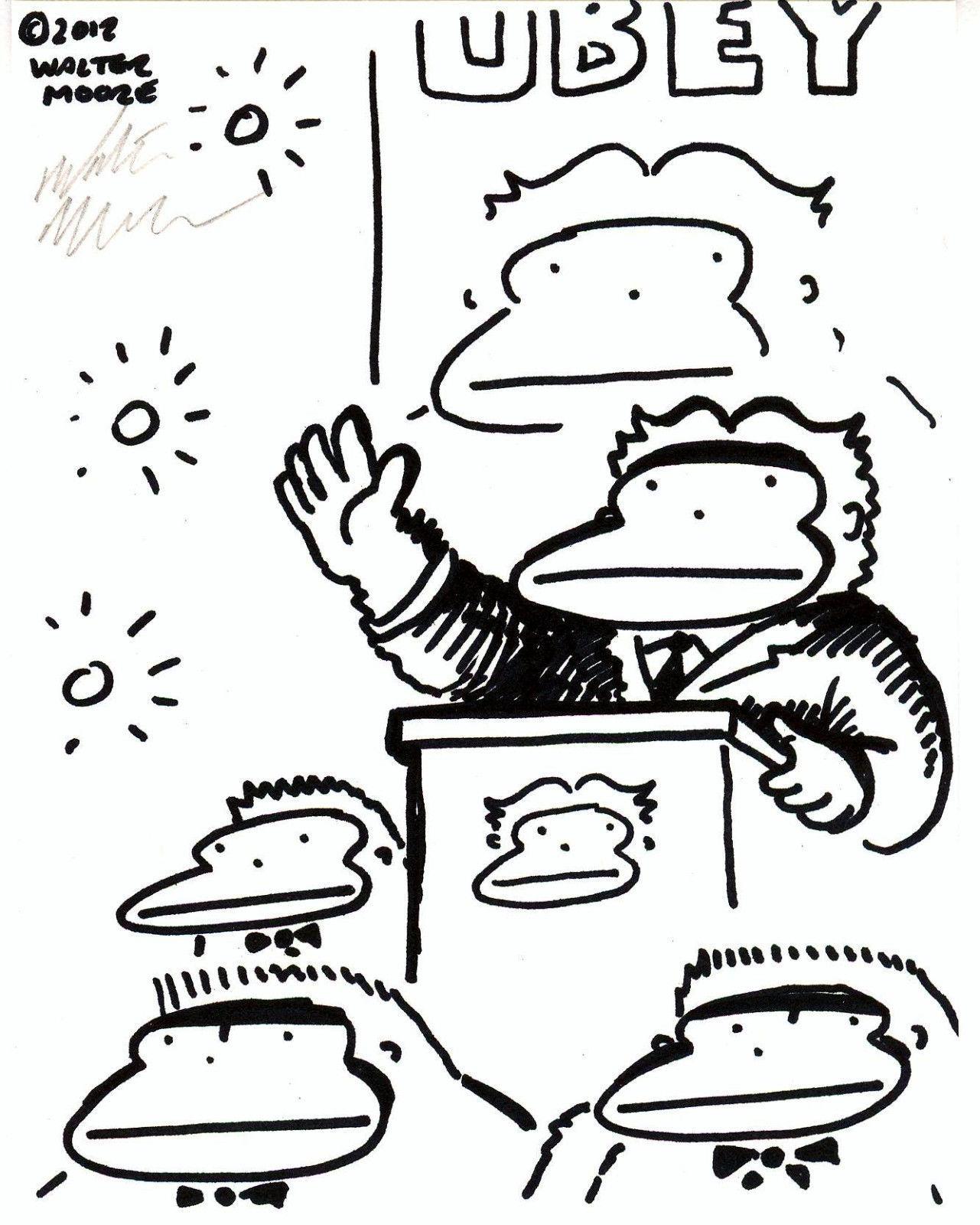 Supreme Leader Ape. Original Signed Cartoon by Walter Moore 31D12