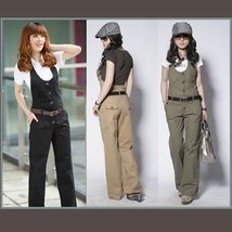 Belted Cotton Denim Jumpsuit Straight Boot Cut Bib Overall Pants In Earth Colors