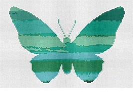 pepita Ombre Butterfly Teal Needlepoint Canvas - $50.00