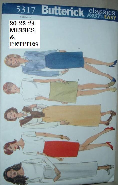 Butterick Misses' /Misses'Petite Lined Skirt # 5317 sZ. 20-22-24