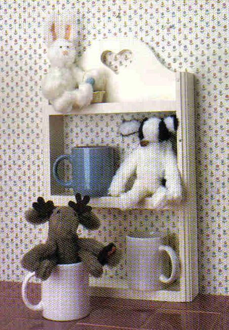 Poly-fil Pattern  D206 Mug Mates Moose Rabbit Cow small stuffed toy doll MC1