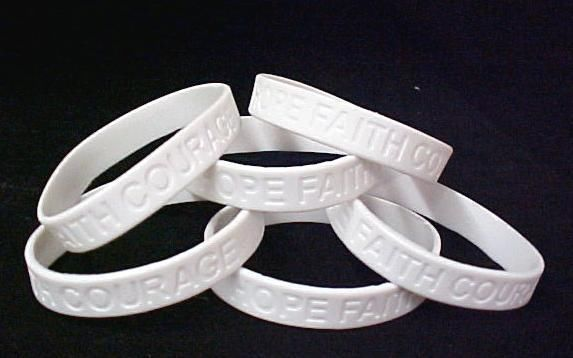 Retinoblastoma Awareness Bracelets White 6 pc Lot New