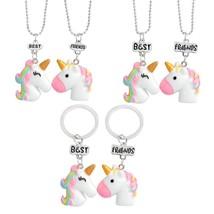 Super Cute Unicorn ! Pink Rainbow Beast with a horn Best friend necklace set Cut - $8.54
