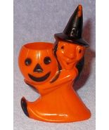 Vintage Halloween Witch with Pumpkin Hard Plastic Rosbro Candy Container - $17.95