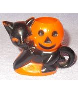 Vintage Black Cat with Pumpkin Hard Plastic Rosbro Candy Container - $17.95