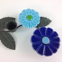 Ceramic Daisy Flower Power Candle Holder turquoise Blue metal leaf Japan - $19.99