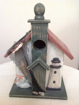 Seaside Decorative House birdhouse. Wood made. For nautical/seaside deco... - $12.50