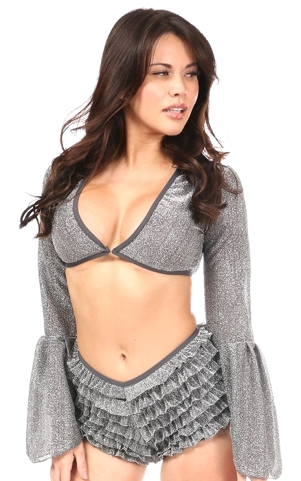 V-Neck Crop Top in Gunmetal Gray  Sheer Glitter Fabric ~ Regular & Plus Size