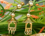 Vintage pagoda dome screwback earrings dangles gold tone by alice thumb155 crop