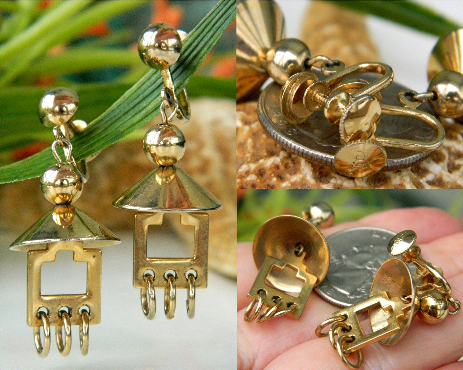 Vintage Pagoda Dome Screwback Earrings Dangles Gold Tone By Alice