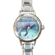 Ladies Round Italian Charm Watch Manatee Marine Life Sea Gift model 1459... - $11.99