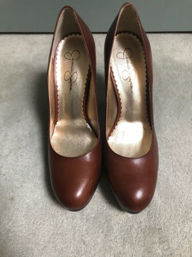 "New Jessica Simpson 8.5 M Brown 5"" Classic Round Toe Stiletto Heels Shoes image 2"