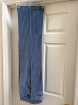 Express Design Studio Womens Editor Blue, White Pinstripe Pants Cotton Size 10 - $34.99