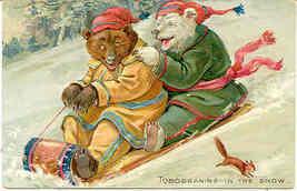 Tucks Little Bears Sledding Down The Hill Vintage Post Card - $15.00