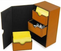 BCW Deck Vault LX 100 Orange with 100 BCW Elite 2 Matte Sleeves Black