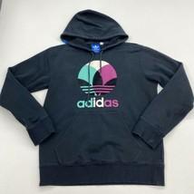 Adidas Hoodie Mens M Black Drawstring Tie Insulated Logo Print Kangaroo ... - $24.95