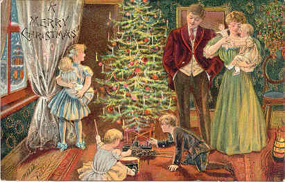 Primary image for Gathering Around The Christmas Tree Vintage Post Card