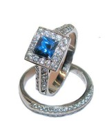 Women's Halo Sapphire Blue & Clear Cz Wedding R... - $26.99