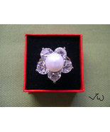 Freshwater Pearl & Diamond 18 KT White Gold Plated ring - 8 - $10.99
