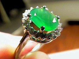 NATURAL AVENTURINE SOLITAIRE RING 7 STERLING 925 SILVER WHITE GOLD SIZE 7 - $40.37